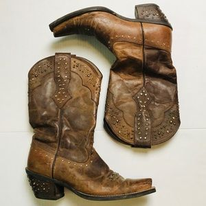 Ariat Brown Leather Cowboy Western Studded Boots